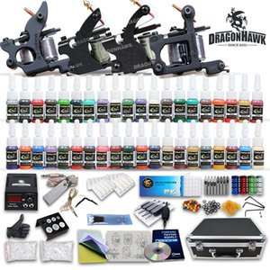 TOP COMPLETE TATTOO KIT KIT DE TATOUAGE 4 POISIONS DE MACHINE 40 COULEUR ENCENTE ENCENTEMENT DE 50 PCS Aiguilles D120GD-1