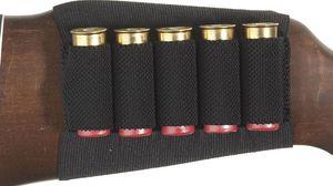 Al por mayor-Shotgun Rifle Shell Cartridge Holder 5 Shells Black Butt Stock envío gratis