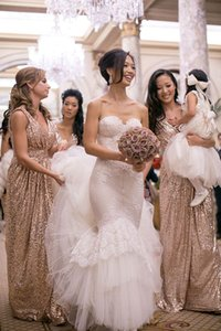 Bling Rose Gold 2019 V-Neck Bridesmaid Dresses 민소매 스팽글 배킹 바닥 길이 롱 비치 웨딩 드레스 Light Gold Champagne