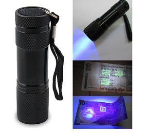 9LED Lanterna Alumínio UV Ultra Violet luz roxa 9 lanterna LED Torch Light 500pcs transporte DHL livre