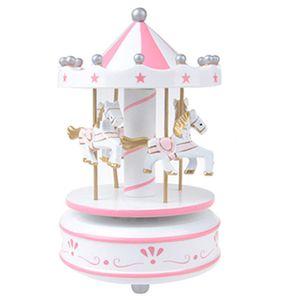 Merry-Go-Round Carousel Wind Up Müzik Kutusu Çocuklar sevgililer Günü hediyesi Doğum Günü Hediyesi Beyaz