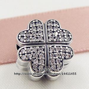 Nuevo 2016 Valentine Day 925 Sterling Silver pétalos de amor del grano del encanto del perno con Clear Cz adapta European Pandora joyería pulseras collar