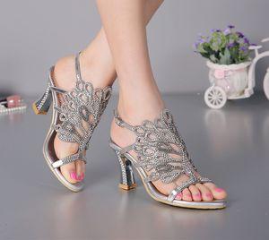 Sommer neue Sandalen Chunky Heel Floral Silber Hochzeit Kleid Schuhe Strass luxuriöse Echtleder Prom Party High Heels