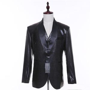 .New SonbaharSpring Erkekler Suit Ceket Blazer Yün + Snakeskin Desen Erkekler Casual Suit Ceket Slim Fit İki Düğme Siyah Saten Yaka