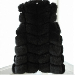 Wholesale-2015 White Black Winter Women Knitted Rabbit & Fox Fur Vest Plus Size Real Natural Rabbit Fur Coat Jackets Long Colete