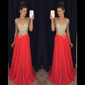Sparkling Prom Dresses 2016 V Cou Perles sur Top Sexy Retour Une Ligne De Mousseline De Soie Celebrity Robes Toute La Longueur Formelle Robes De Soirée BA0827