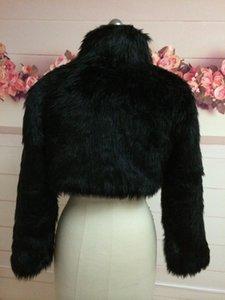 Nupcial Moda Jacket Preto Longo Marfim Bridesmaids Enrole luva Faux Xaile Cape roubou Bolero Fake Fur Fur Coat Cape Qlgja