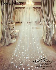Neue 3D Blumenkathedrale Zug Hochzeit Schleier 2020 Weiß Elfenbein Eine Schicht Tüll Prinzessin Günstige Arabische Brautschleier für Strand Land Hochzeiten
