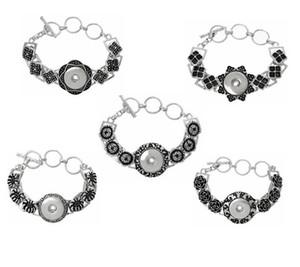 2020 Nuovo Hottest forma rotonda Fiore classico braccialetto Bocconcini fai da te Snap Button Gioielli 5 stili del commercio all'ingrosso