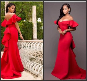 2019 Новые великолепные красные платья для выпускного с открытыми плечами Атласная Русалка Вечерние платья из Саудовской Аравии Ruched Sweep Train Вечернее платье 296