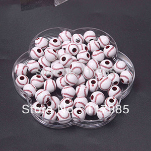 Toptan-Ücretsiz nakliye Tıknaz boncuklar, Popüler Akrilik Beyzbol Boncuk 12mm, Bilezikler için 600pcs / lot