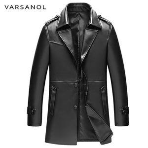 Al por mayor-Varsanol larga trinchera para hombre de la PU chaquetas abrigos chaquetas de cuero rompevientos manga completa otoño Turn-Down Collar botón marca ropa