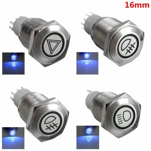 Araba 16mm LED ışıklı Kendinden kilitleme Paslanmaz Çelik Su Geçirmez Düz Düğme LED Anahtarı Tehlikesi Uyarı Arka Sis Lambası