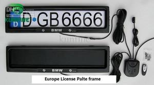 Ücretsiz kargo ! Uzaktan kumanda araba lisans çerçevesi kapak plakası pri ile Avrupa Araç Plaka Çerçevesi
