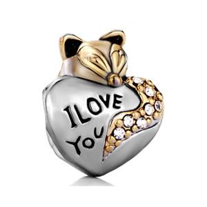 Personalized jewelry I love you heart fox animal European bead metal charm ladies bracelet with big hole Pandora Chamilia Compatible