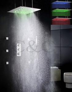 Термостат ванной душ кран набор 20 дюймов две функции распыления и осадков LED насадка для душа и массаж спрей 009-20WL-F