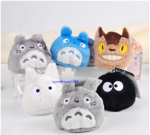 مجموعة من 6PCS جارتي TOTORO الفول البسيطة القطيفة المعلقات لعب TOTORO القط حافلة مليئة Kurosuke القطيفة