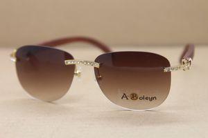 2019 New Rimless Decor Madeira quadro T8307005 Big diamante óculos de sol de ouro de madeira Sunglasses Decor Madeira quadro Óculos Frame Size: 57-18-135mm
