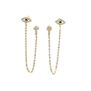 top quality unique design factory wholesale cz CROSS evil eye charm dainty dangle chain double hole 925 silver stud earring