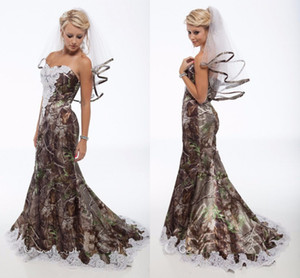 2015 Vestidos De Casamento Camo Plus Veils Vintage Querida Lace Sereia Camo Vestidos De Noiva Backless Sweep Train Camuflagem Vestidos De Casamento