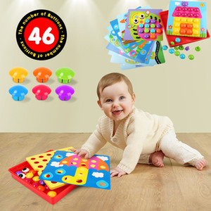 New Design 46pcs Baby Early Educational Toys Pegboard Mushroom Nails Composite Picture Diy Creative Mosaic Mushroom Kit Puzzles Toys