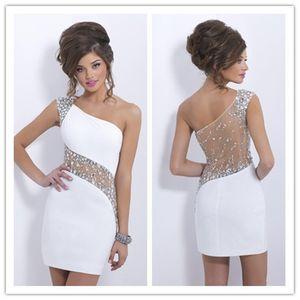 2019 eleganti cristalli bianchi abiti da cocktail una spalla breve Sheer Back Prom Abiti da sposa Sexy See Through Back Evening Party Gown
