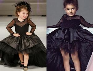 Bambini Pageant Abiti Tulle maniche lunghe formale Alto Basso abito di sfera nero puro indietro piegano Flower Girl Dresses del partito raso abiti