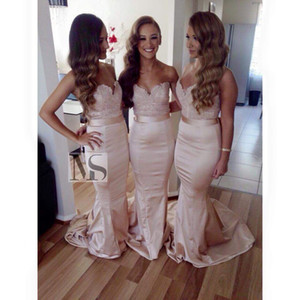 New Formal 2019 Blush Pink Lace Bridesmaid Dresses Sweetheart Backless Mermaid Long Fashion Prom Party Gowns For Wedding Cheap Custom Made