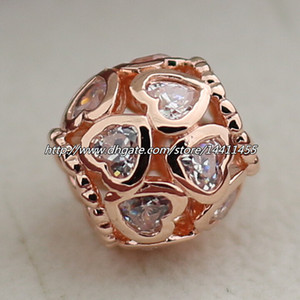 925 sterling silver rose banhado a ouro openwork coração charme talão com cz claro serve para europeu pandora jóias pulseiras colares colares