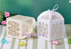 Лазерная резка сердечной свадьбы Коробка конфет Банкетные подарочные коробки Sweetbox держатель для вечеринки