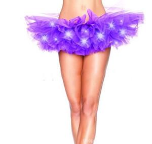 LED Adult Dance Performance Skirt Flashing Sparkling Tutu Skirts Solid Color Fancy Light up Mini Tutu Skirts