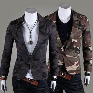 Vente chaude camouflage armée vent hommes One Button Blazer Suit coton silm petit costume loisirs Manteau Veste Vêtements Hommes