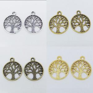 Encantos de Árvore de Vida de Prata tibetana Rodada Pingentes Beads Jewerly Descobertas 20mm Escolha Cor