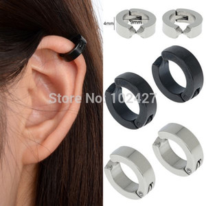 Moda Círculo Aro Pendientes de clip no piercing Vintage Ear Cuff Hombre Pendiente de acero inoxidable Ventas al por mayor Joyas