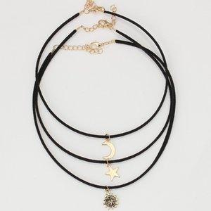 3 pezzi imposta girocolli collane lega stella luna sole pendenti maxi collane per unisex set di collana hot-selling