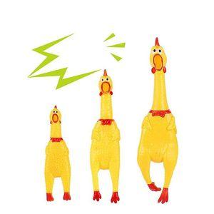 31x7 cm Bonito Amarelo Shrilling Forma de Frango Som Brinquedo Do Animal de Estimação Cão Gato Não-toxi De Borracha Chewing Toys festival engraçado som do bebê brinquedos