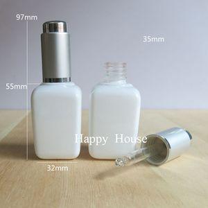 Envío gratuito - 300 x 35 ml Botella Cuadrado blanco de vidrio con gotero, pipeta de goteo 35cc Vial, Contenedores de muestra de vidrio,
