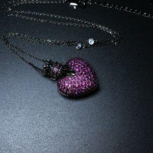 Vintage Love Heart Shape Pendant Necklace Full Cubic Zirconia Pendant Necklaces Fashion Jewelry Bijoux For Women Gift