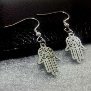 Dévote main des motifs de bon augure fatima arabes talisman charme Boucle d'oreille en acier inoxydable