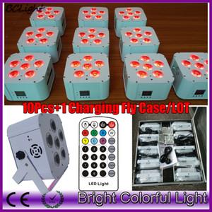 (10 шт. +1 fly case /лот) инфракрасный пульт дистанционного DMX беспроводной батарейках quad свадьба par UV uplights / LED плоский par light
