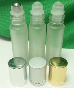 10ml bouteille en verre dépoli vaporisateur de parfum clair flacons en acier inoxydable et rouleau en verre avec couvercles à capuchon en aluminium argent or