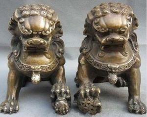 Cina Copper Door Fengshui Guardion Foo Fu Dog Lion Statue Pair