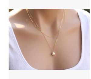 6pcs / lot Top nuovo arrivo oro argento perla turchese collana pendente goccia d'acqua Via semplice doppia collana di perle gioielli catena clavicola