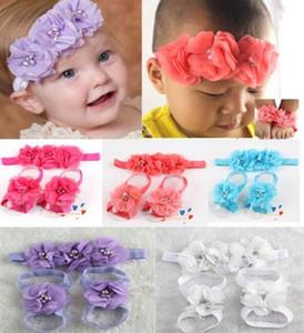 Горячие красочные ноги цветок босиком сандалии + оголовье набор для новорожденных девочек FS026