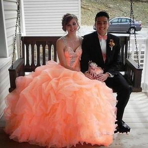 2015 Quinceanera Dress Ball Gown Gorgeous con cuentas Correas Sweetheart Organza capas Coral Mint Girl Sweet 16 Vestido En Stock QS10