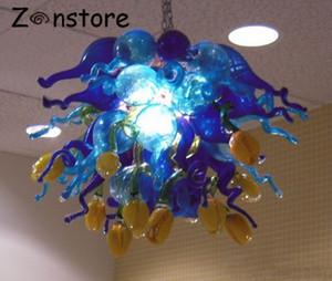 이탈리아 디자인 코발트 블루와 노란색 장미 꽃 샹들리에 램프는 손 불어 무라노 유리 펜던트 샹들리에 조명 조명을 LED