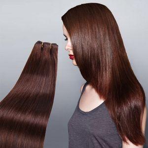 ELIBESS Hair Virgin European Human Hair Extension # 6 Chocolate Color 100g / piece Doble trama del cabello humano teje