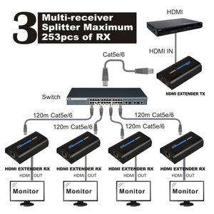 Бесплатная доставка HSV373 (1 передатчик и 5 приемников) HDMI Extender 120 м через IP / TCP UTP / STP CAT5e / 6 RJ45 LAN работает как HDMI Splitter 1080p
