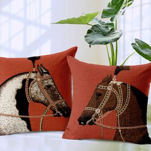 Lusso Cuscino Marrone Bianco Cavallo animale Stampa copertina Piazza tiro cuscino della cassa Cotone Lino europea cavallo o un'immagine 45cm * 45CM