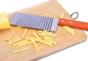 Dalga Bıçak Filament Kesici + Ücretsiz Kargo Kesim Ahşap Sap Fries ile Toptan-Fransız Patates Kesici